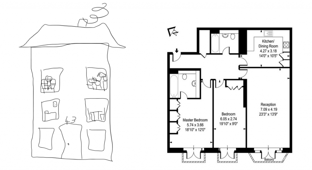 a child-like drawing of a house and an estate agent's plan of an apartment